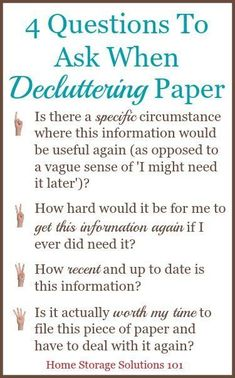 4 questions to ask when decluttering paper so that you can get rid of the right things! {on Home Storage Solutions 101} #getridofclutter #homedecluttering