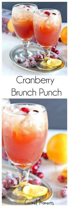 Cranberry Brunch Punch  - Only 4 ingredients.  Homemade, ready in minutes!| http://gatherforbread.com