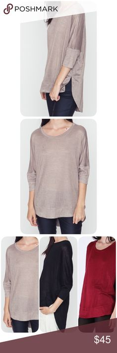 Mocha Dolman Top Beautiful and very comfortable. High - Low Dolman sleeve style. Various sizes. New item. Boutique Tops