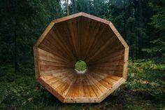 Imensos megafones captam sons de floresta na Estônia
