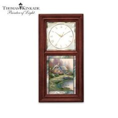 Classic design features art by Thomas Kinkade on interchangeable, seasonal stained-glass panels. Illuminates from within. Accurate quartz movement.