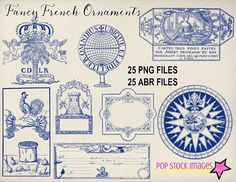 Vintage French Ornament Brushes by popstock on @creativemarket