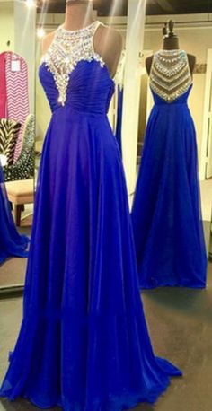 40a2f8b844a9 Royal Blue Prom Dresses,Royal Blue Prom Dress,Silver Beaded Formal Gown,Beadings  Prom Dresses,Evening Gowns,Chiffon Formal Gown For Senior Teens