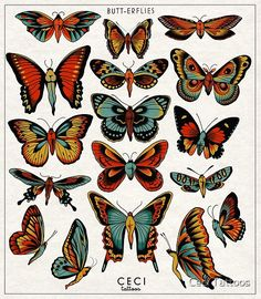 Traditional Butterfly Tattoo, Traditional Tattoo Flash, Traditional Tattoo Illustration, Traditional Tattoo Design, Dope Tattoos, Leg Tattoos, Sleeve Tattoos, Simbols Tattoo, Tatoo Art