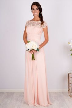 Camila Embellished Shoulder Bridesmaid Dress – Custom Made Peach bridesmaid dresses. Long bridesmaid dresses with lack neck line. Beautiful coral and blush bridesmaid dresses. Peach Color Bridesmaid Dresses, Bridesmaid Dresses With Sleeves, Lace Bridesmaids, Wedding Bridesmaid Dresses, Pink Brides Maid Dresses, Bridesmade Dresses, Bridesmaid Outfit, Bridesmaid Ideas, Dress Wedding