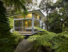 Modern Glass and Steel House Design in Sydney    Can you imagine having this view from your bed.....