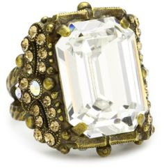 """Sorrelli """"Stardust"""" Vintage Emerald Cut Clear and Light Gold Crystal Cocktail Adjustable Ring Sorrelli. $85.00. Items that are handmade may vary in size, shape and color. Antique gold-tone metal ring that fits most. Made in  China. Ring adjusts between sizes 7-9"""
