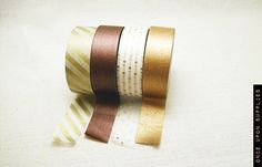 Festive Metallic Washi Tape Set  - Gold and White Stripes, Copper, Bronze, Gold Dots Decorative Tape / Pretty and Shiny Holiday Gift Wrap. $14.00, via Etsy.