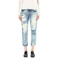 TORTOISE DENIM Savanna straight high-rise jeans (688,665 KRW) ❤ liked on Polyvore featuring jeans, knit patch, distressed jeans, destroyed jeans, slim fit straight leg jeans, ripped jeans and cropped jeans