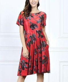 909315786d65 R B Red   Black Floral Short-Sleeve Side-Pocket Dress - Women   Plus. Another  great find ...