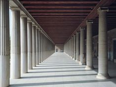 Stoa: covered walkway or portico in Ancient Greece Classical Architecture, Ancient Architecture, Landscape Architecture, Architecture Design, Athens Hotel, Athens Greece, Arch Light, Interior Design History, Covered Walkway