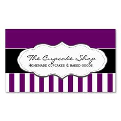 Retro Purple and White Striped Business Cards. This great business card design is available for customization. All text style, colors, sizes can be modified to fit your needs. Just click the image to learn more!
