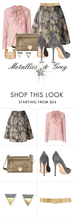 """""""Sparkle With Grey"""" by shamrockclover ❤ liked on Polyvore featuring Essentiel, Etro, Christian Dior, Gianvito Rossi and Reem Acra"""