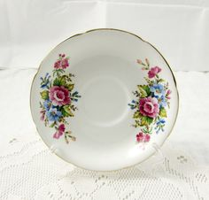 Royal Grafton Orphan Saucer, White with Pink and Blue Flowers, Replacement Saucer, Saucer ONLY, No Tea Cup
