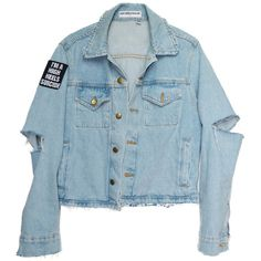 Trouble Maker Denim Jacket (€100) ❤ liked on Polyvore featuring outerwear, jackets, tops, denim jacket, distressed denim jacket, distressed jean jacket, blue jean jacket and blue jackets