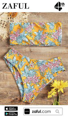 546245495d370 Floral Bandeau Bikini Set Strapless Bikini High Waisted Swimwear Brazilian  Bathing Suit Swimming Suit For Women Beach Wear Monka Outdoor Store 1