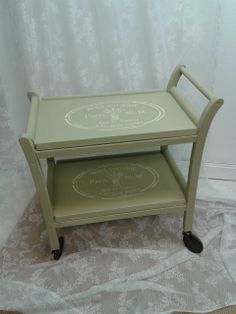 Totally a tea time treat - gorgeous vintage tea trolley hand painted in Autentico Chalk Paint Herbs with stenciling in Vanille.  Available to purchase at http://www.craftynest.co.uk/store/c9/Vintage_Furniture_for_Sale.html