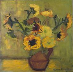 Margarita Lozano - Girasoles en verdes y amarillos, 1962