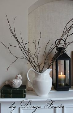 diy Design Fanatic: Winter Mantel Pitcher with sticks and lantern Winter Home Decor, Diy Home Decor, Winter Decorations, Diy Design, Fireplace Mantle, Seasonal Decor, Decorating Ideas, Decor Ideas, Mantle Decorating