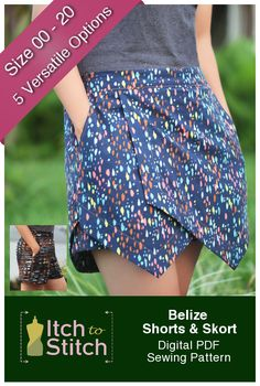 Whether you are enjoying the great outdoor or lounging in the house this summer, you don't want to live without the Belize Shorts & Skort pattern. With one pattern, you can create five different styles of shorts and skorts. They all feature elastic waist and medium length in-seam. That's right; no zipper and no buttons! They are a breeze to sew and leave you enough time to enjoy the gorgeous sunshine. Belize Shorts & SkortFeature:     Sits at natural waist   Relaxed fit   Elastic sid...