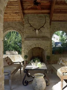 Like the idea of fireplace on exterior wall... maybe open on both sides (to covered porch and then patio covered pergola)...
