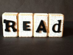 Read wooden blocks (use an old book or dictionary)