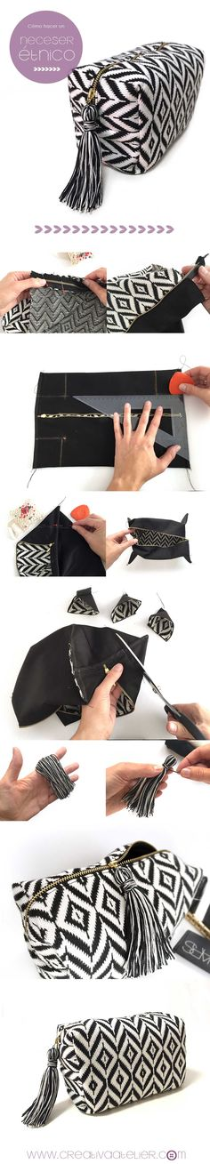 Pasa paso para confeccionar un neceser étnico DIY . Ethnic Pouch Pasa paso para confeccionar un neceser étnico DIY . Sewing Hacks, Sewing Tutorials, Sewing Crafts, Sewing Projects, Sewing Patterns, Diy Projects, Sewing Ideas, Diy Crafts, Do It Yourself Mode