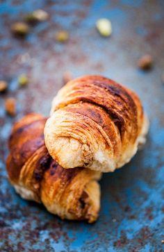 Baklava Croissants ~ no recipe link, so I linked to a croissant recipe. Use this link for Baklava Filling only: http://korenainthekitchen.com/2014/02/17/baklava-sticky-buns/