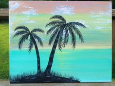 16x20 Hand Painted Abstract Palm Tree Painting by DestinForWood