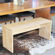 plywood bench for dining table also used as bench in bedroom