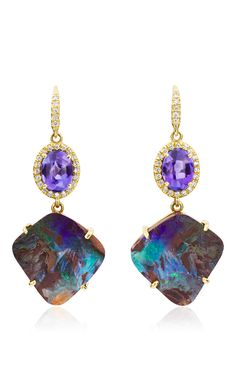 18 K Yellow Gold Tanzanite And Opal Boulder Gemma Earrings by LAUREN K for Preorder on Moda Operandi