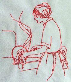 Advanced Embroidery Designs - Housework Redwork Set.