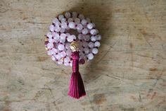 mala beads rose quartz rainbow moonstone ruby by StandingLaurel