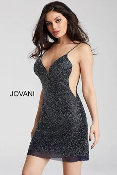 Jovani 58588 beaded backless plunging neckline short dress Short Prom 2df788369