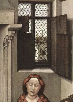 Flemish window detail - Madonna with the Child (detail) by Robert Campin c.1433-1435