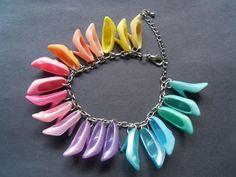 PUMPS ONLY / Pastel Rainbow Barbie shoe Charm bracelet / ITEM 420. $12.00, via Etsy.