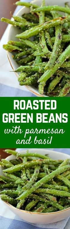 These roasted green beans with parmesan and basil are crispy, flavorful and prob. These roasted green beans with parmesan and basil are crispy, flavorful and probably don't even r Side Dish Recipes, Vegetable Recipes, New Recipes, Vegetarian Recipes, Cooking Recipes, Favorite Recipes, Healthy Recipes, Slow Cooking, Side Dishes