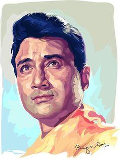 Dev Anand Digital Art by Bhagvan Das Watercolor Portrait Tutorial, Acrylic Portrait Painting, Watercolor Portraits, Watercolor Paintings, Vector Portrait, Portrait Art, Legendary Pictures, Indian Art Paintings, Celebrity Drawings