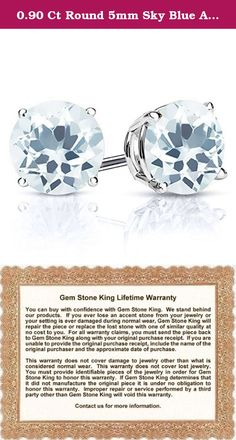 0.90 Ct Round 5mm Sky Blue Aquamarine 925 Sterling Silver Women's Stud Earrings. Contemporary and distinctive our Aquamarine gem stone earrings are sure to be great addition to any jewelry collection. Aquamarine is a beautiful stone making it perfect for any occasion and holiday. Show her you care with a gift that will compliment her style flawlessly. As always with all of our products this item comes in packaging making it ready for gifting as soon as it is received.This beautiful item…