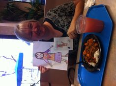 My friend Gail and I met for Holy Mass at noon today, at O'Connor hospital and then the three of us had lunch. That's black beans and sweet potatoes on rice.