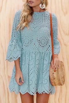 Embroidery anglaise loose fit smock style dress Details: Material: Cotton Style: Bohemian Neckline: O neck Sleeve Style: Cap Sleeve Sleeve Length: Short Sleeve Silhouette: A Line Dresses Length: Mini SIZE(IN) US Bust Waist Length Sleeve Length S M L 34 Trend Fashion, Fashion Models, Fashion Designers, Womens Fashion, Ladies Fashion, Fashion Tips, Modest Fashion, Fashion Dresses, Casual Dresses