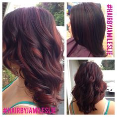 Violet mahogany base with red violet balayaged highlights. Took off 6 inches and shortened her layers for more movement and volume. Gorgeous!!!  Hair by Jami Leslie Tiger Tail Salon- Carlsbad, CA #hairbyjamileslie