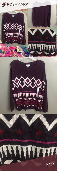 NWT Old Navy Burgundy Knit Graphic Sweater, L NWT Old Navy Burgundy Knit Graphic Sweater, L Old Navy Sweaters