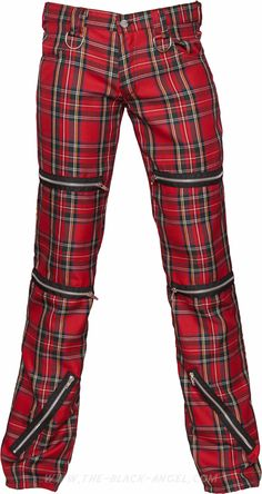 Red tartan men's pants, from the Black Pistol line of punk inspired goth clothing by Aderlass.