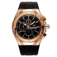 TechnoMarine Men's 110051 Cruise Original Star Chronograph Black Dial Watch TechnoMarine. $535.50. Water-resistant to 660 feet (200 M). Black dial. Comes with and extra black cover and brown silicone strap. Clear transparent cover and black silicone strap. Chronograph Quartz 45 mm pink gold PVD case and bezel