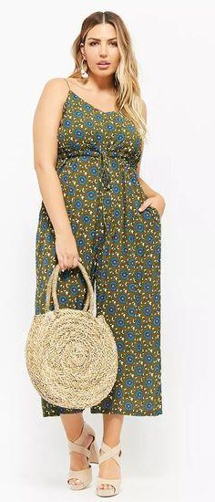Olive Green Floral Jumpsuit   Curvy And Plus Size Fashion Jumpsuits  Übergrößenmode Für Frauen, Mode 4b461df74c