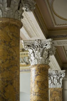 The scagliola columns, made to represent Sienna marble, of the Staircase Hall at first floor level, at Berrington Hall, Herefordshire Use this as a chair Beautiful Architecture, Architecture Details, Interior Architecture, Interior And Exterior, Roman Columns, Marble Columns, Column Capital, Hallway Designs, Stuck