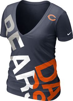 Chicago Bears Women's Navy Nike Off-Kilter Tri-Blend Deep V-Neck T-Shirt