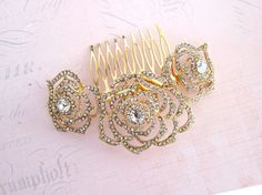 Gold Wedding Haircomb Rose Hair Comb Gold by LottieDaDesigns
