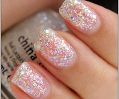 Find images and videos about glitter, nail lacquer and china glaze on We Heart It - the app to get lost in what you love. Cute Nails, Pretty Nails, Fancy Nails, Snow Globe Nails, Nail Polish Collection, Glitter Nails, Gel Nails, Nail Polishes, Nail Polish Colors